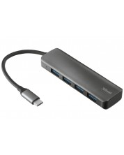 USB хъб TRUST - Halyx Alum, USB-C to 4-Port USB3.2, черен -1
