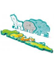 Дървен пъзел Hape - Азбука и животни, двустранен -1