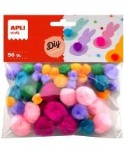 Пухкави цветни помпони APLI - 50 броя -1