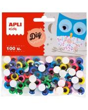 Мърдащи очички APLI - Цветни, самозалепващи,  ø10 mm, 100 броя -1