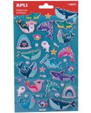 Обемни стикери APLI - Морски животни, 32 броя -1