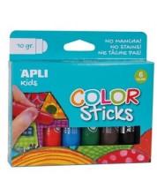 Комплект боички за рисуване APLI Kids - Гваш стик, 6 пастелни цвята -1