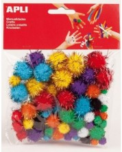 Блестящи цветни помпони Apli, различни размери