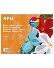 Блокче Apli - Хартия тишу, 10 листа, различни цветове