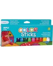 Комплект боички за рисуване APLI Kids - Гваш стик, 12 пастелни цвята -1