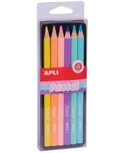Комплект цветни джъмбо моливи APLI - 6 цвята, пастел -1