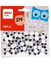 Мърдащи очички APLI - Самозалепващи,  ø10 mm, 100 броя -1