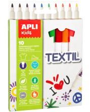 Маркери за рисуване върху текстил APLI - 10 цвята -1