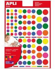 Самозалепващи стикери Apli - Кръгчета, 7 цвята, 624 броя