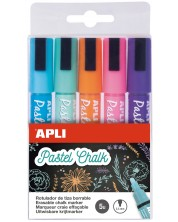 Комплект течни тебешири APLI - 5 пастелни цвята -1