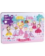 Пъзел Apli - Принцеси на леда в метална кутия, 24 XL части