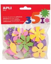 Самозалепващи цветя Apli - Блестящи, от Eva гума, 48 броя
