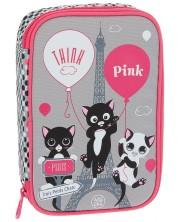 Ученически несесер Ars Una Think Pink - 2 нива, с три котенца -1