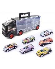 Игрален комплект Ocie - Автовоз Container Truck с 6 колички