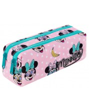 Правоъгълен ученически несесер Cool Pack Edge - Minnie Mouse Pink, с 2 ципа