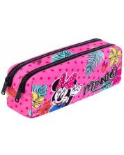 Правоъгълен ученически несесер Cool Pack Edge - Minnie Mouse Tropical, с 2 ципа