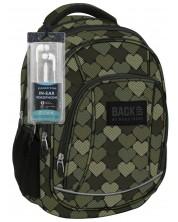 Ученическа раница BackUP A10 - Зелени сърца, с 3 отделения + подарък