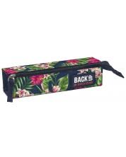 Правоъгълен ученически несесер BackUP - Тропически цветя, с едно отделение