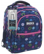 Ученическа раница BackUP B18 - Цветни кръгове, с 3 отделения + подарък