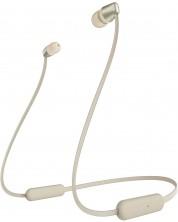 Безжични слушалки с микрофон Sony - WI-C310, златисти -1