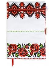 Рокля за книга: Рози и шевица на триъгълници с цветя (Текстилна подвързия с копче) - 3 -1