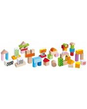 Дървен комплект Eichhorn - Цветни блокчета, с десен