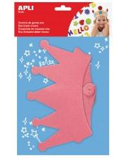 Детска корона Apli - Розова, блестяща, от Eva гума
