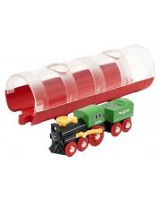 Играчка Brio World - Парен локомотив и тунел -1