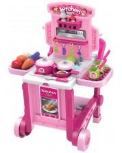 Детска кухня Buba Kitchen little Chef - Розова, 3 в 1