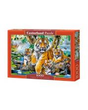 Пъзел Castorland от 1000 части - Тигри до водопада