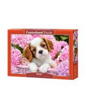Пъзел Castorland от 500 части - Кученце в розови цветя