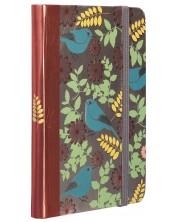 Тефтер с ластик Carny - A6, 80 листа, сини птици