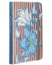 Тефтер с ластик Carny - A6, 80 листа, синьо и райе