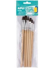 Комплект четки за рисуване Apli - Меки, естествен косъм, 6 броя