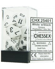 Комплект зарове Chessex Opaque Poly 7 - White & Black (7 бр.) -1