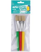 Комплект четки за рисуване Apli - Плоски, естествен косъм, 3 броя