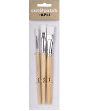 Комплект четки за рисуване Apli - Синтетични влакна, 3 броя