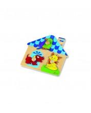 Дървен пъзел за бебета - къщичка Classic World -1