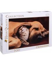 Пъзел Clementoni от 500 части - Куче и коте