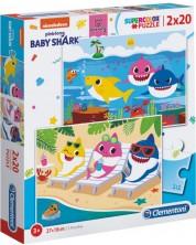 Пъзел Clementoni от 2 x 20 части - Baby Shark -1