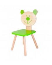 Детско столче-мече от дърво Classic World – Зелено -1