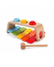 Дървена играчка 2 в 1 - ксилофон + чукче Classic World -1
