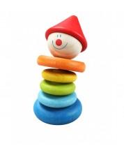 Дървена дрънкалка за бебета Classic World - Клоун -1