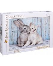 Пъзел Clementoni от 500 части - Коте и зайче
