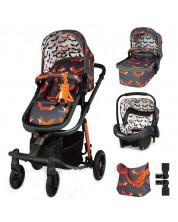 Бебешка количка Cosatto Giggle Quad - Charcoal Mister Fox, с чанта, кошница и адаптери -1