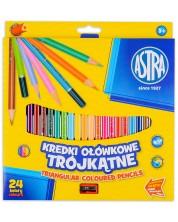 Триъгълни моливи Astra - 24 цвята, с острилка