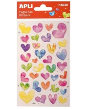 Самозалепващи стикери Apli - Цветни сърца, със стъклен ефект