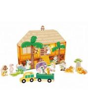 Игрален комплект Classic World - Диви животни, с къщичка -1