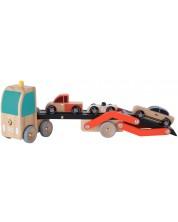 Дървена играчка Classic World - Автовоз, с 3 колички -1
