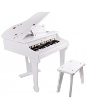 Детско електронно пиано Classic World - Бяло, с пейка